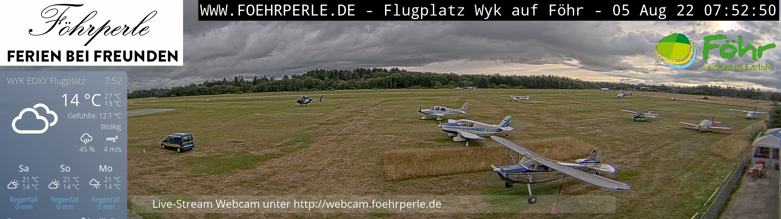 Webcam Föhr Flugplatz Wyk EDXY - Live Webcam Nordseeinsel Föhr - http://webcam.foehrperle.de